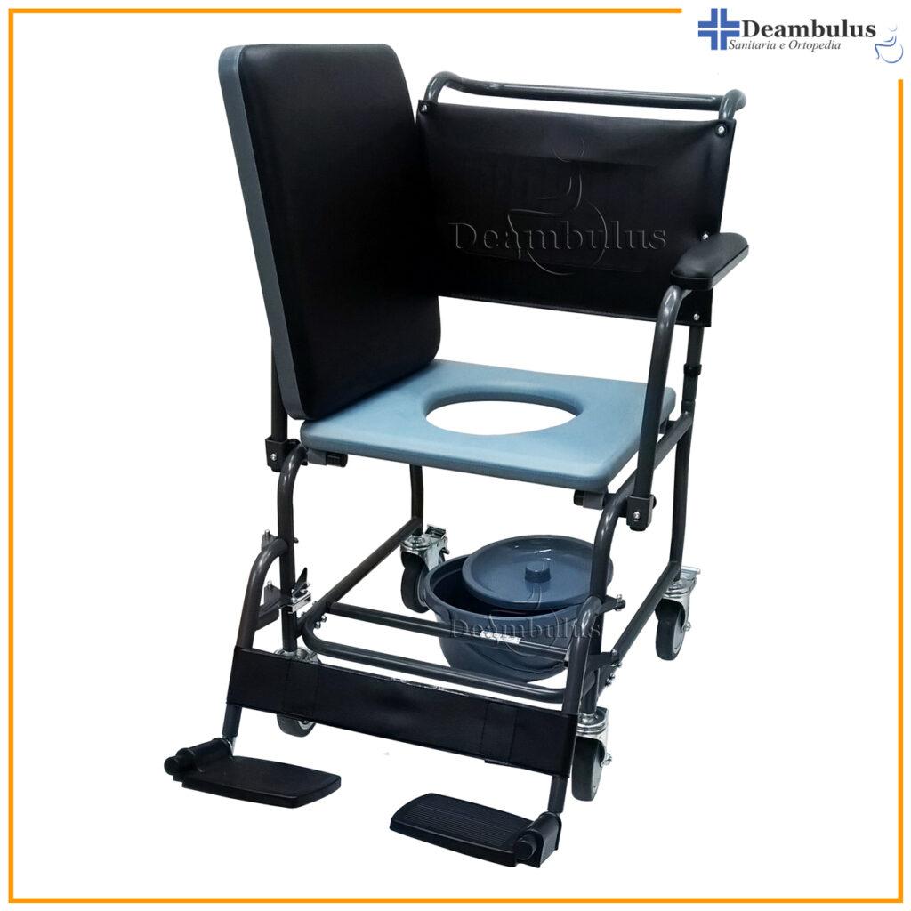 Sedia comoda wc con ruote anziani rialzo alzawater - Deambulus
